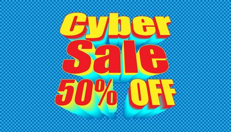 retro cyber sale 50% off. plaid blue color background style. vector illustration