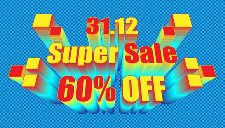 retro 31.12 end year super sale 60% off. plaid blue color background style. vector illustration
