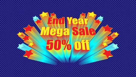 retro banner end year mega sale 50% off. plaid blue color background style. vector illustration eps10 Illusztráció