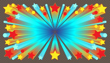 star circle object blend colorful retro style. plaid brown color background. vector illustration eps10