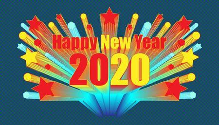 happy new year 2020 character around with star circle polygon object blend retro style.  plaid dark blue color background style. vector illustration eps10