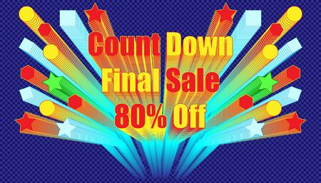 count down final sale 80% off effect blend retro style.  plaid blue color background style. vector illustration eps10