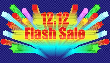 12.12 flash sale effect blend retro style.  plaid blue color background style. vector illustration eps10 Illusztráció