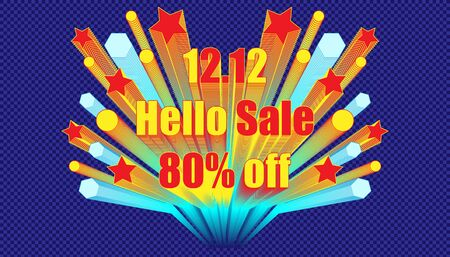 12.12 hello sale 80% off effect blend retro style.  plaid blue color background style. vector illustration eps10 Illusztráció