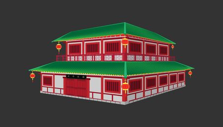 3d beautiful china house minimal style.happy chinese new year.sign of Xin Nian Kuai Le characters for CNY festival.holiday category.