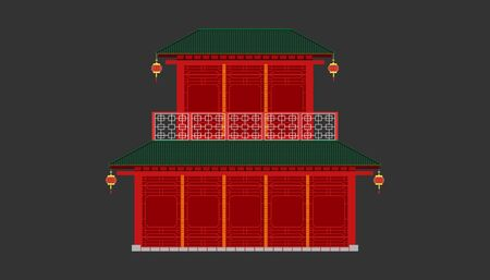 red china house minimal old vintage style. building and landmark category.