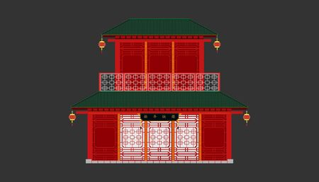 front of red china house minimal old vintage style.happy chinese new year. Xin Nian Kual Le characters for CNY festival.holiday category.