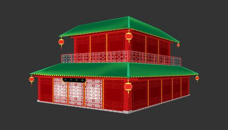 3d beautiful red china house minimal style.happy chinese new year. Xin Nian Kual Le characters for CNY festival.holiday category.