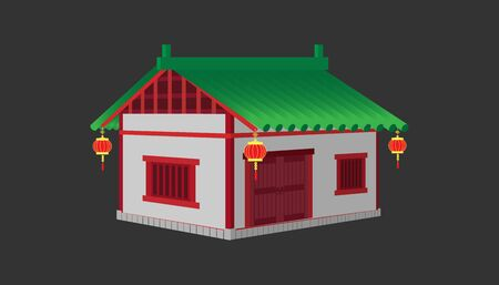 3d one floor white china house minimal old vintage style. building and landmark category. Stock fotó - 135852060