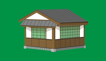 3d one floor japanese house or restaurant old vintage style. vector illustration