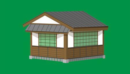 Maison ou restaurant japonais d'un étage 3D de style vintage ancien. illustration vectorielle Vecteurs