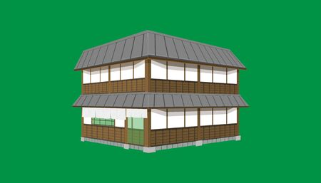 3d two floor japanese house or restaurant old vintage style. vector illustration