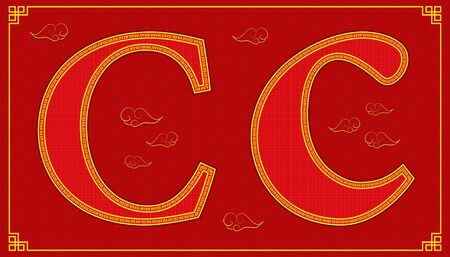 C lucky alphabet character consonant happy chinese new year style. vector illustration Stock fotó - 136151730