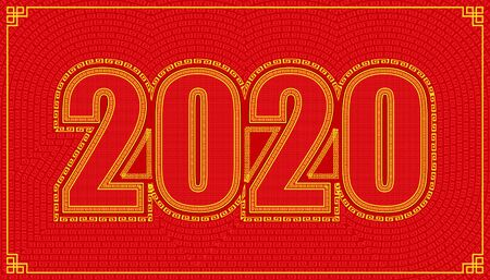 line path around 2020 year character alphabet. lucky number happy chinese new year style. vector illustration Stock fotó - 136294949
