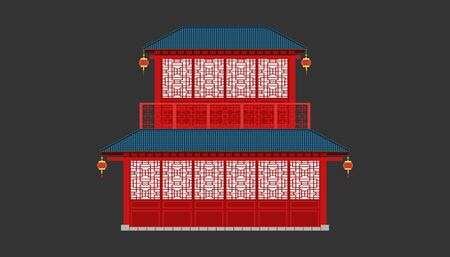 beautiful china house blue tone roof minimal style.happy chinese new year. holiday category. vector illustrator Illusztráció