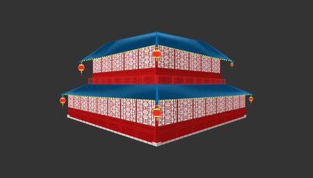 3d beautiful china house blue tone roof minimal style.happy chinese new year. holiday category. vector illustrator