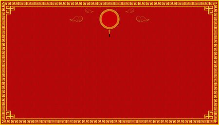 Happy Chinese New Year. circle lucky symbol on top center and cloud and pattern background. vector illustration