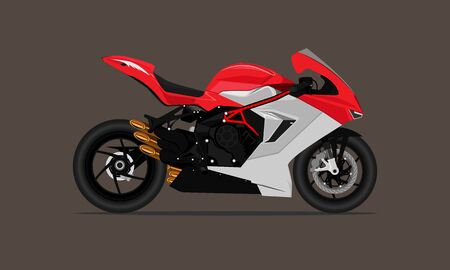 big bike sport motorcycle fast speed modern sytle red gray color. vector illustration eps10