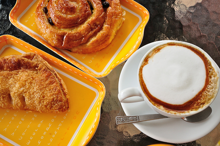 capuchino: bakery and capuchino breakfast background