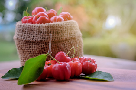 Acerola fruit close up on background