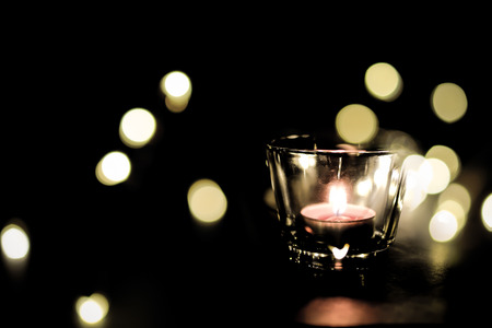 candle light on blackground