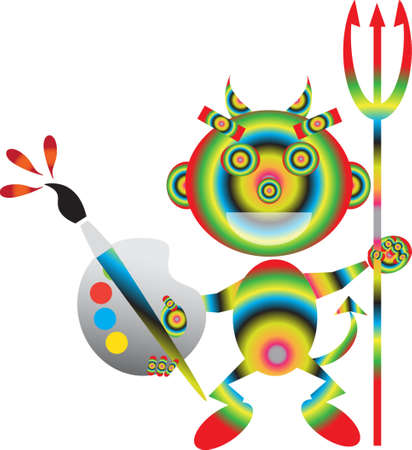 brings: Cute Art devil brings you artistic talent Illustration