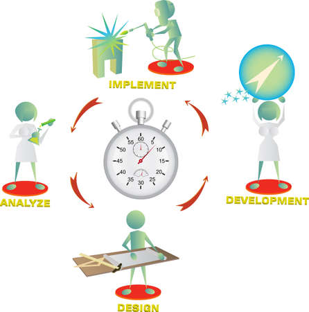 wealth abstract: team is racing against time  Illustration