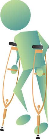 injured man walking Vector