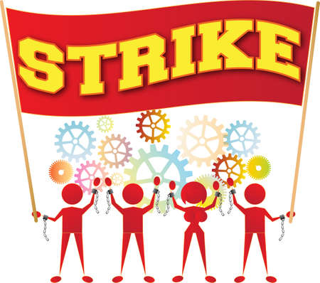 factory workers: workers on strike
