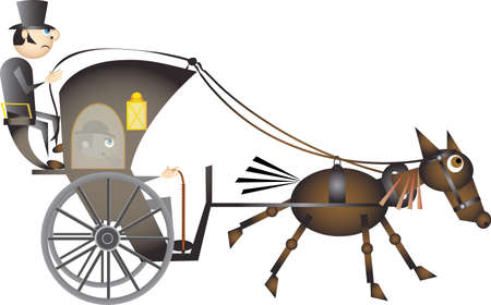 horse and cart: carriage Illustration