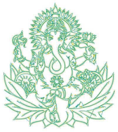 Indian elephant god figure designed as a line-art icon using special AI brush. This icon for nature, wildlife, travel, science, search, religion, history, culture, art, and tourism issues.
