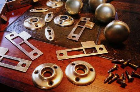 Brass doorknob parts and pieces