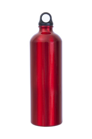 no water: A red waterbottle of the type used by climbers, walkers and campers. A karabiner is attached to the top.