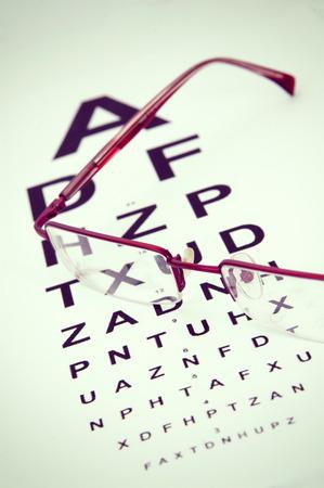 eyestrain: a pair of black reading glasses on top of an eye test chart