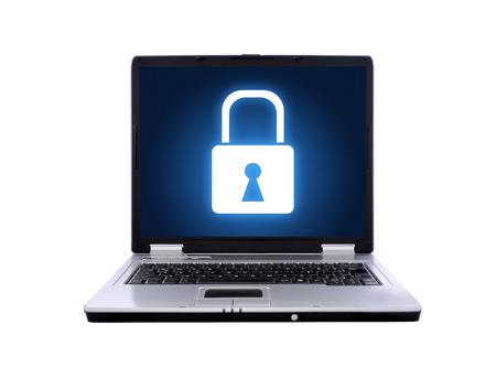 lock: laptop locked on the white background. Isolated on white.