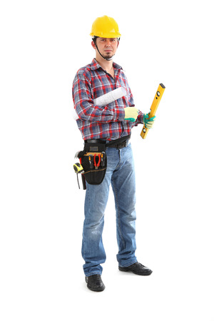 30 34 years: Carpenter Contractor Man Wearing Toolbelt Hardhat Isolated on White