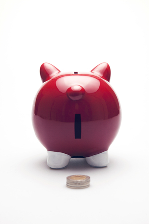 Piggy bank. Rear view on the white background. Isolated on white photo