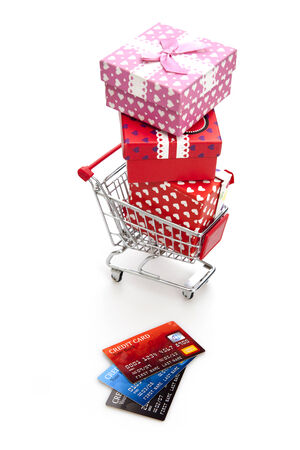 Shopping for Holidays And Celebrations on the white background photo