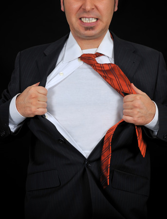 fully unbuttoned: Superhero add text or image to chest on the black background Stock Photo