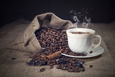 coffee sack: Coffee beans with coffee cup