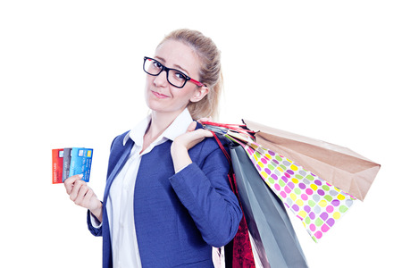credit card debt: Credit Card Debt Attractive Young Woman With Money Worrie