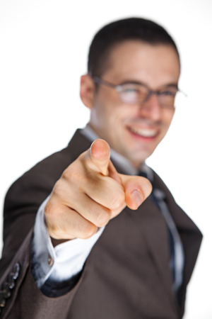 copyspace: Man Pointing His Finger. White Copyspace on right
