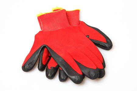 work gloves: Red Work Gloves on the white background Stock Photo