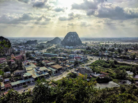 View of the Marble mountains at sunset, Da Nang, Vietnam Editorial