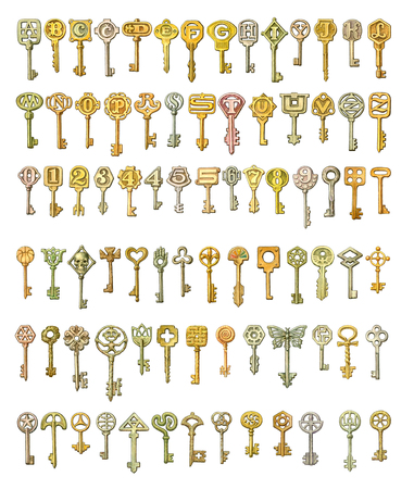 Alphabet and symbols on fairytale keys. Painting, isolated on white photo