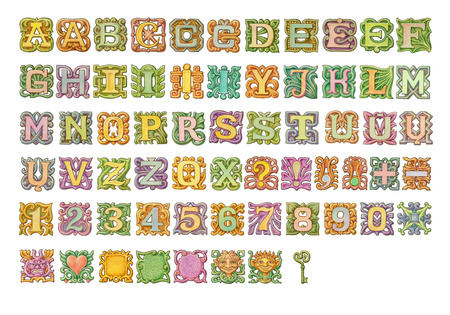 Fairy-tale colorful alphabet painting. Isolated on white photo