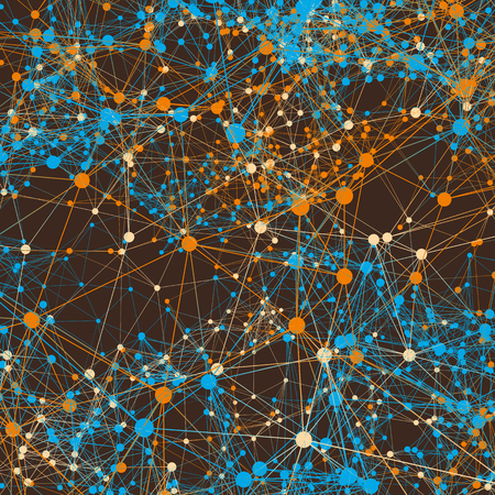 Orange and blue connected lines on brown. Abstract background