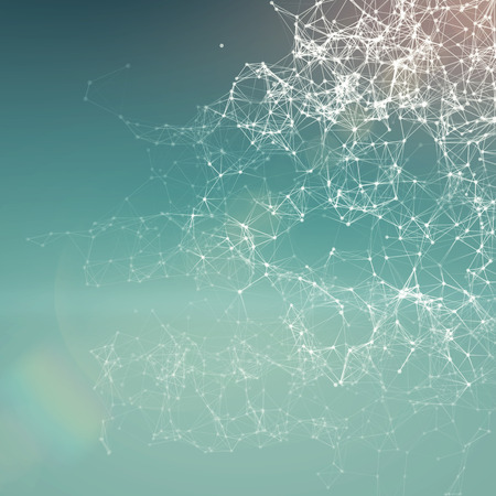 Fresh summer abstract background. Connecting dots, lens flare