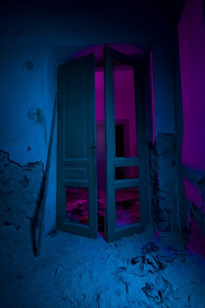open window: Light painted abandoned interior. The doors. Halloween party background