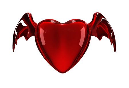 fateful: Glossy red heart with wings Stock Photo